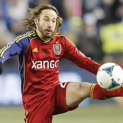 Real's Ned Grabavoy stops the ball as Real Salt Lake and Sporting KC play Saturday, Dec. 7, 2013 in MLS Cup action. Sporting KC won in a shootout.