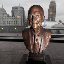 A bust of President Russell M. Nelson, of The Church of Jesus Christ of Latter-day Saints, is pictured inside the Conference Center in Salt Lake City on Monday, Dec. 30, 2019.