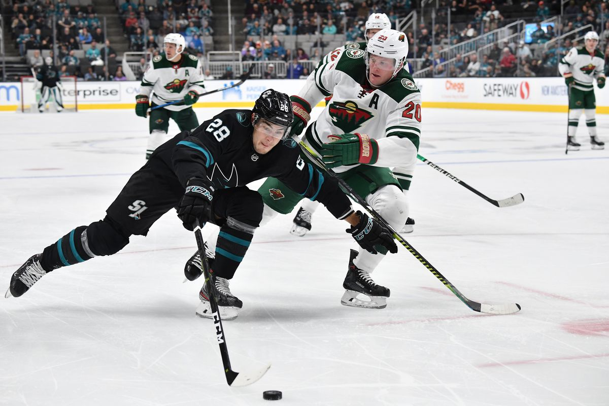 SAN JOSE, CA - NOVEMBER 07: Timo Meier #28 of the San Jose Sharks skates with the puck against Ryan Suter #20 of the Minnesota Wild at SAP Center on November 7, 2019 in San Jose, California.