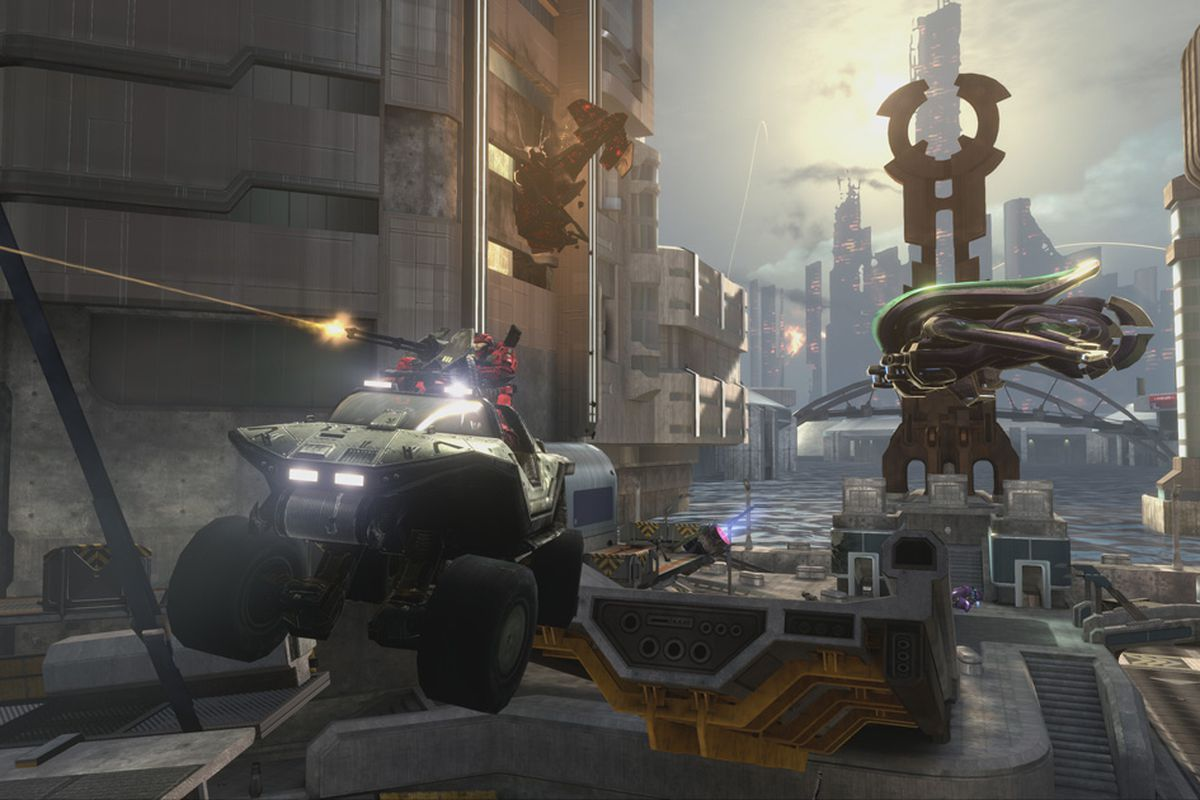 A warthog and a covenant ship fighting amongst city streets in Halo Reach on the Master Chief Collection