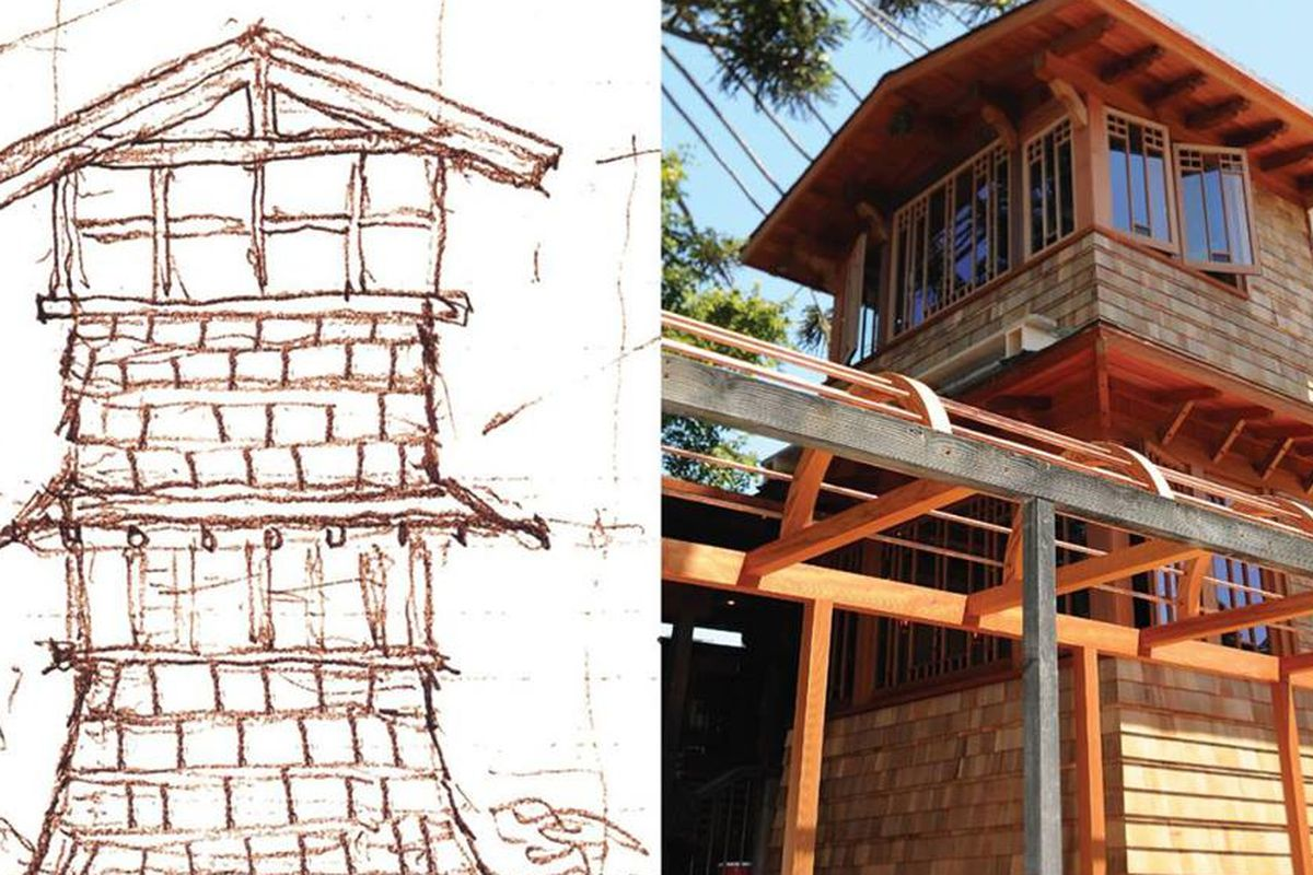 At left, an artist's sketch of the rebuilding plan for Chez Panisse; at right, the finished project.