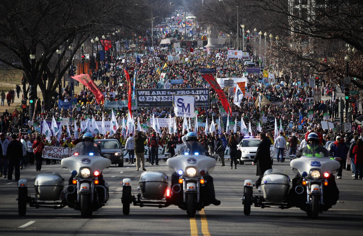 Annual March For Life Protests 1973 Roe v. Wade Ruling In Washington