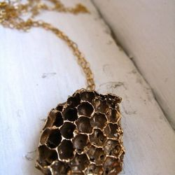 For the naturalist, a real piece of nature to hang around her neck. Gold Honeycomb Long Necklace, $70, Redbud Jewelry