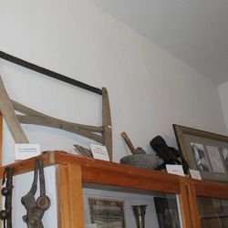 A bucksaw similar to this was used to amputate John Rowe Moyle's leg after it was broken from being kicked by a cow. Moyle's house is now a museum filled with old artifacts and replicas from pioneer times.