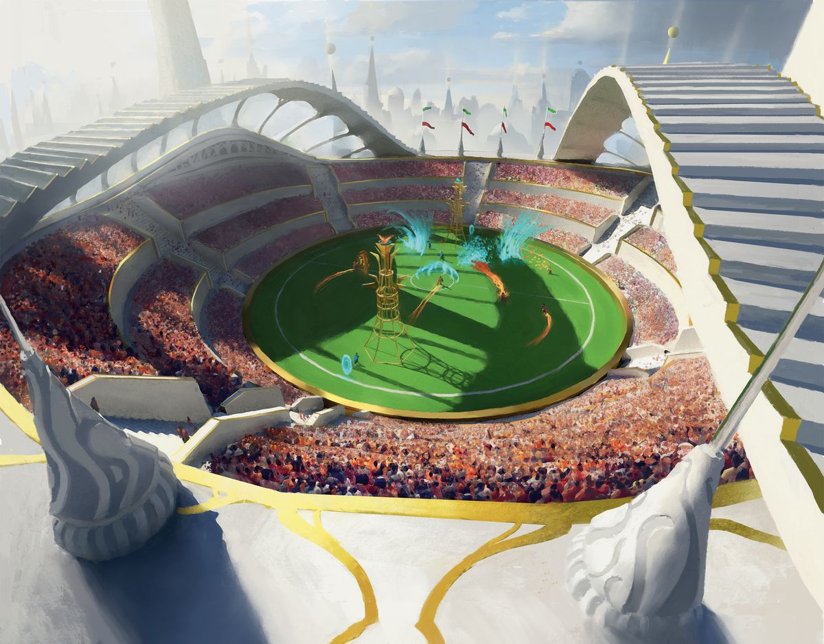 Bursts of magical energy erupt from a pristine white stadium while thousands look on. The field is green and circular.