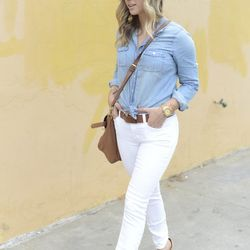 """Emily of <a href=""""http://cupcakesandcashmere.com""""target=""""_blank"""">Cupcakes and Cashmere</a> is wearing a <a href=""""http://www.jcrew.com/womens_category/shirtsandtops/denimchambray/PRDOVR~44875/44875.jsp?srcCode=AFFI00001&siteId=Jwn5gl5xnX0-cvRMukXCBVyKkU%2A"""