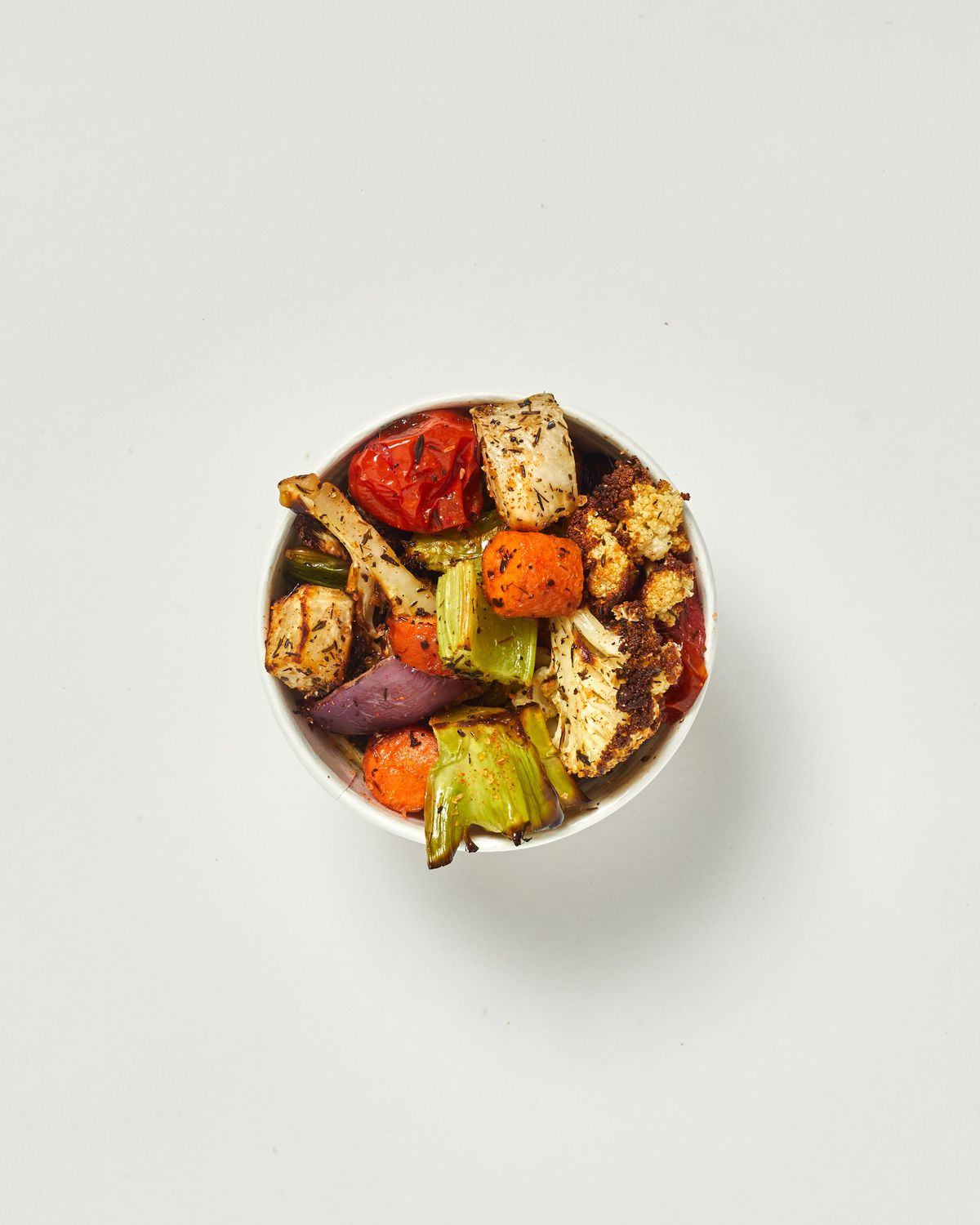 Chopped roasted vegetable medley CAULIFLOWER, CARROT, RED ONION, CELERY, TURNIP, CHERRY TOMATOES