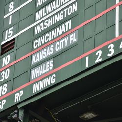 12:11 p.m. The team listings on the center-field scoreboard -