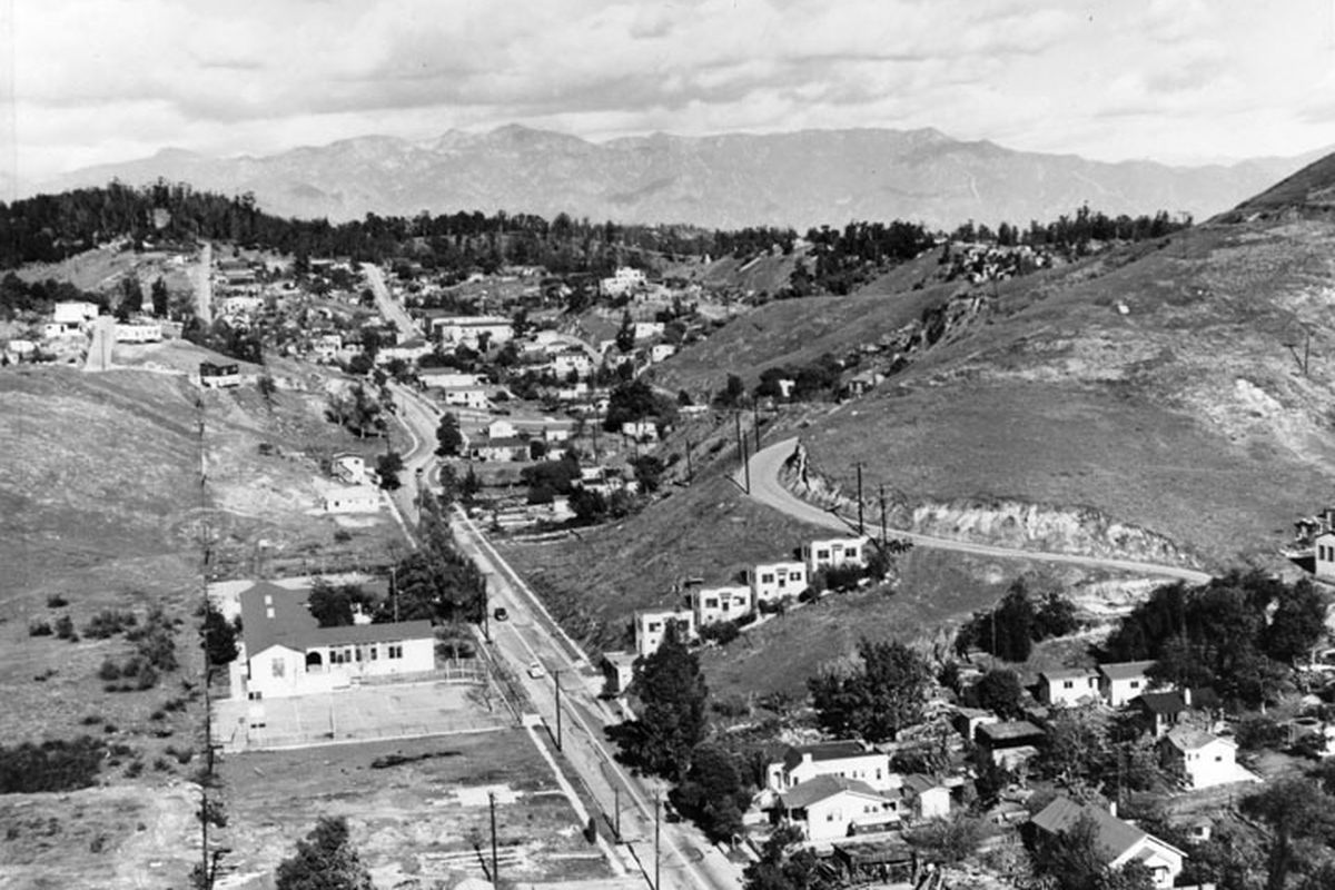 A view of the Elysian Park Heights area filled with houses, and a road through the middle and another on the hillside on the right.