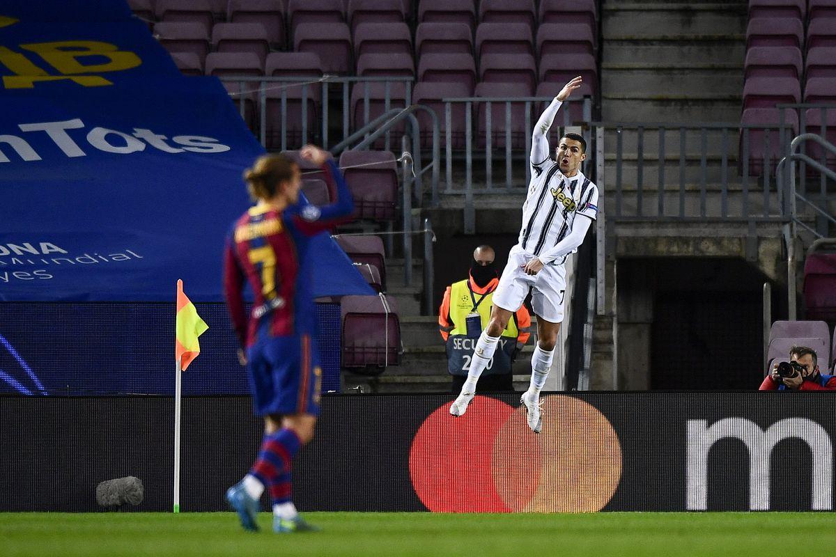 Cristiano Ronaldo of Juventus FC celebrates after scoring a...