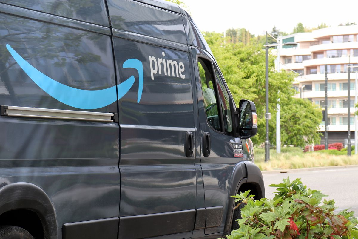 An Amazon Prime delivery van is seen in Seattle. The...