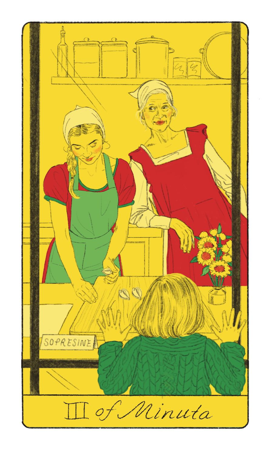 Tarot card of Three of Minuta, depicting a woman rolling pasta in front of a window, a child pressing his nose to the glass looking in, and an older woman looking on inside