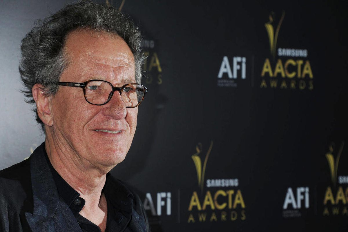 """This Jan. 27, 2012 photo shows Geoffrey Rush arriving at The Australian Academy of Cinema and Television Arts Awards at the Soho House, in Los Angeles.  Rush,  who played speech therapist Lionel Logue in the Oscar-winning film """"The King's Speech""""  has rep"""