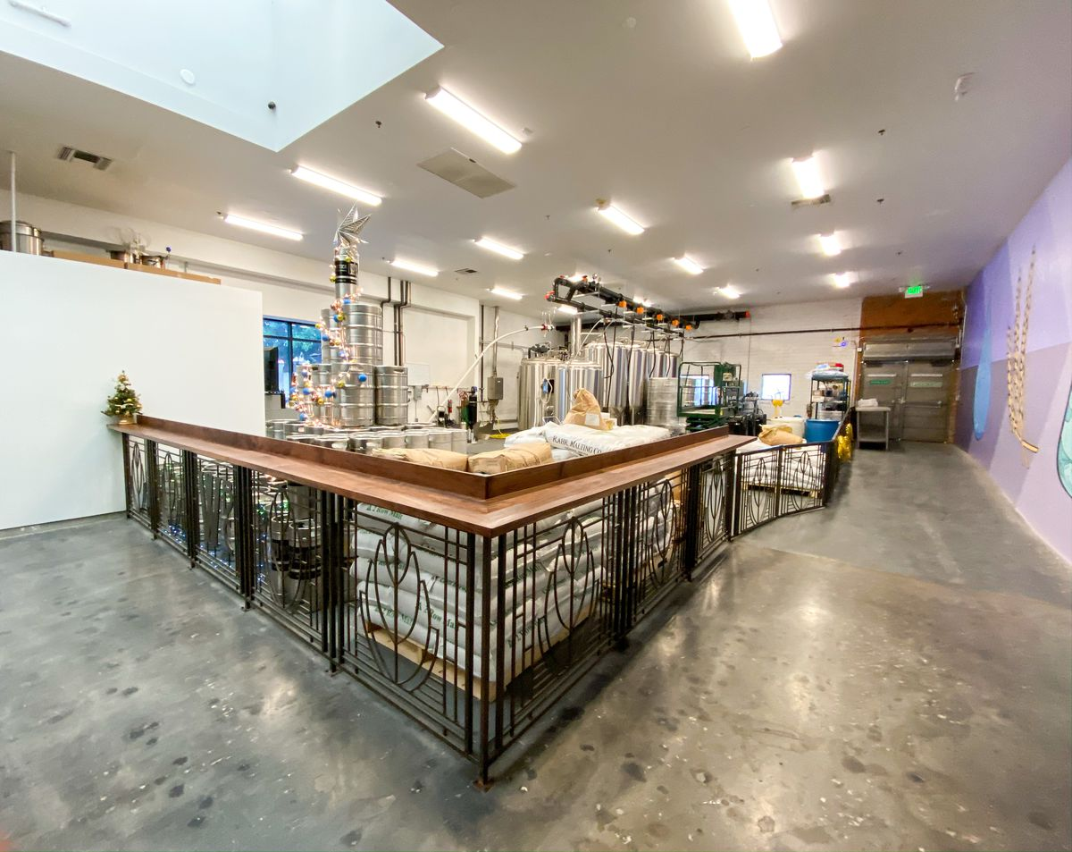 A brewery setup for Whittier Brewing Co, including tanks.