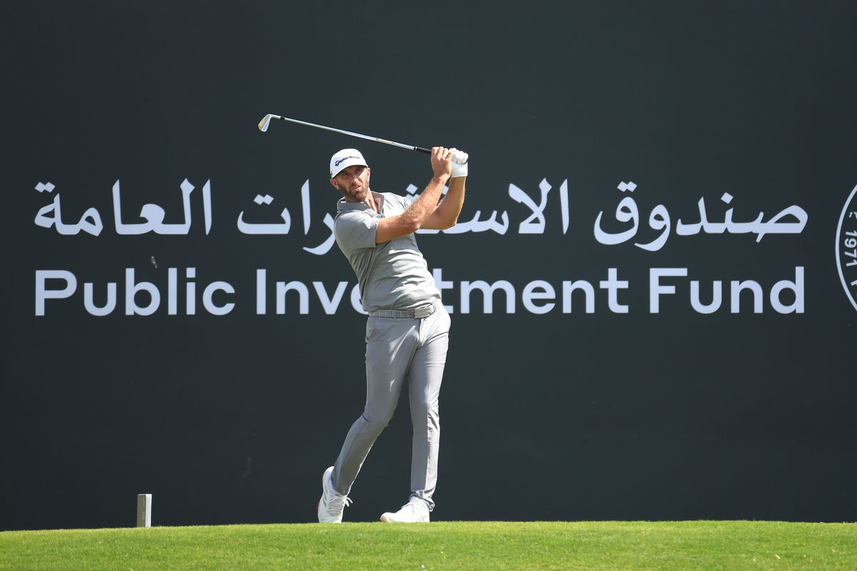 Dustin Johnson of The United States of America tees off on the 3rd hole during Day 4 of the Saudi International at Royal Greens Golf and Country Club on February 02, 2020 in King Abdullah Economic City, Saudi Arabia.