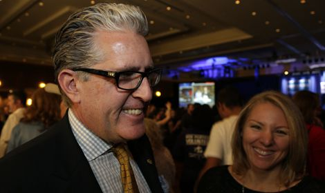 Stephen Ludwig, seeking a second term on the CU Board of Regents, gathered with Democrats in downtown Denver Tuesday for an election watch party. Photo / Joe Mahoney