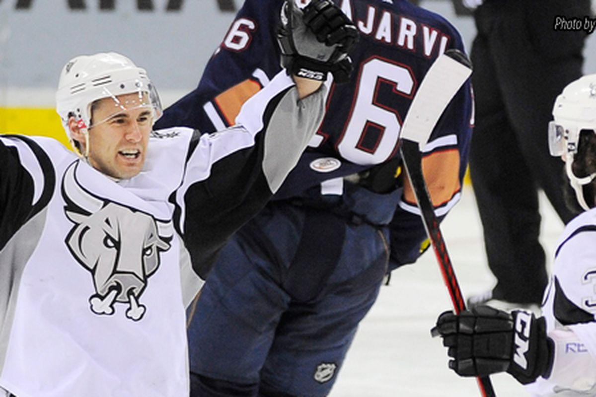 Jon Matsumoto picked up an assist, but his Rampage still fell to the Barons. Photo: Darren Abate/PressPhotoIntl.com