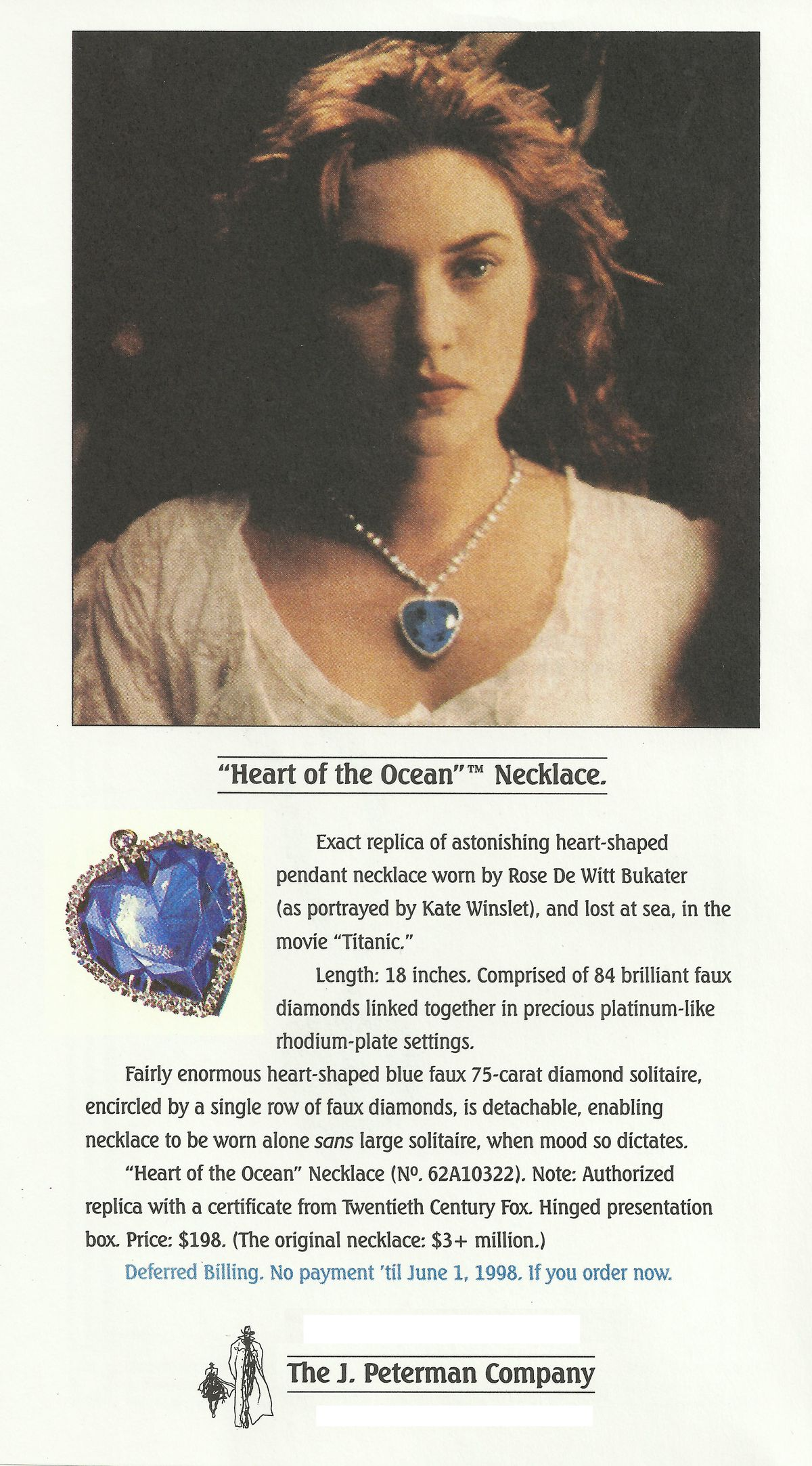 The J. Peterman Company's Heart of the Ocean reproduction, as featured in its catalog.