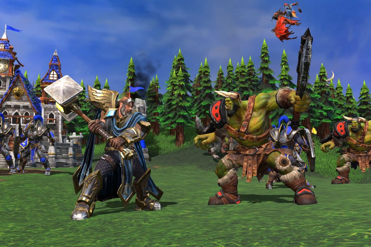 An orc and human face off in a screenshot from Warcraft 3 Reforged