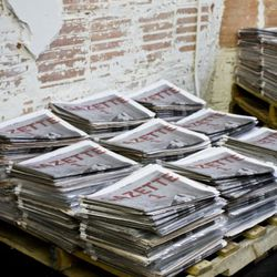 Piles of Gazette 1, a limited-edition broadsheet by Johan and his friends.