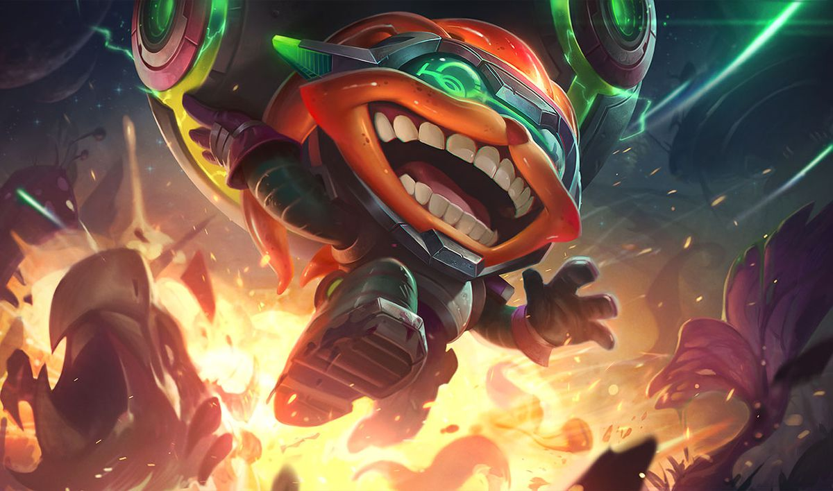 Odyssey Ziggs jumps out of an explosion, that he likely caused