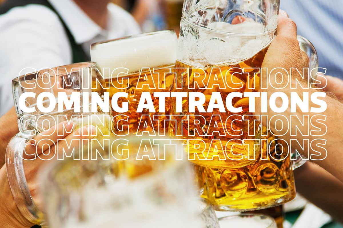 Three people clank together glass mugs of amber colored beer. Coming Attractions is written across the top of the image four times