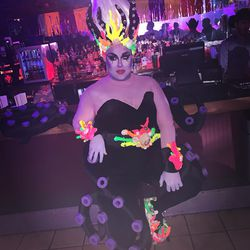 Kiki Fierce's (@thekikifierce) drag take on Ursula. The corals are UV activated and glow under black light. Fierce handmade and painted the look on her own.
