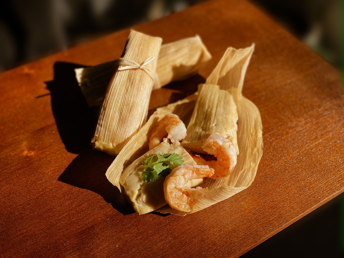 The shrimp tamales from Huckleberry