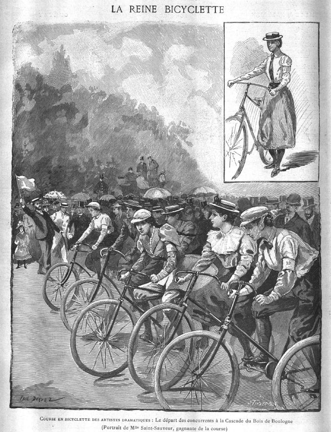 Course d'Artistes – from 'Les Annales Politiques et Littéraires', June 1893. The start line would have been a riot of colour, with De Saint-Sauveur in a violet silk blouse and grey culottes, Chabot and De Mongey in pink, Debatz wearing scarlet red.
