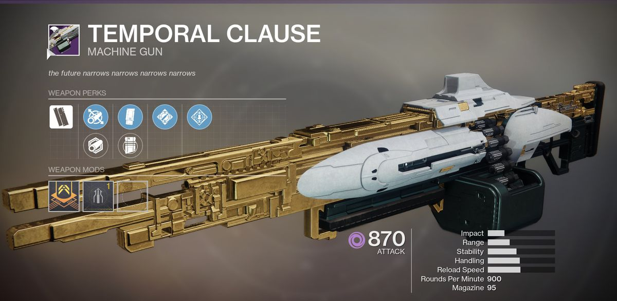 Destiny 2's Temporal Clause Machine Gun