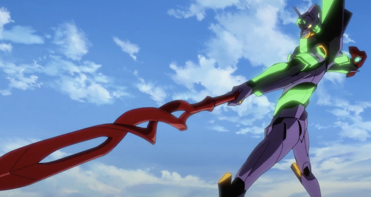 a giant humanoid machine standing pointing a red spear downward toward the corner of the screen in Evangelion: 3.0 + 1.01 Thrice Upon a Time