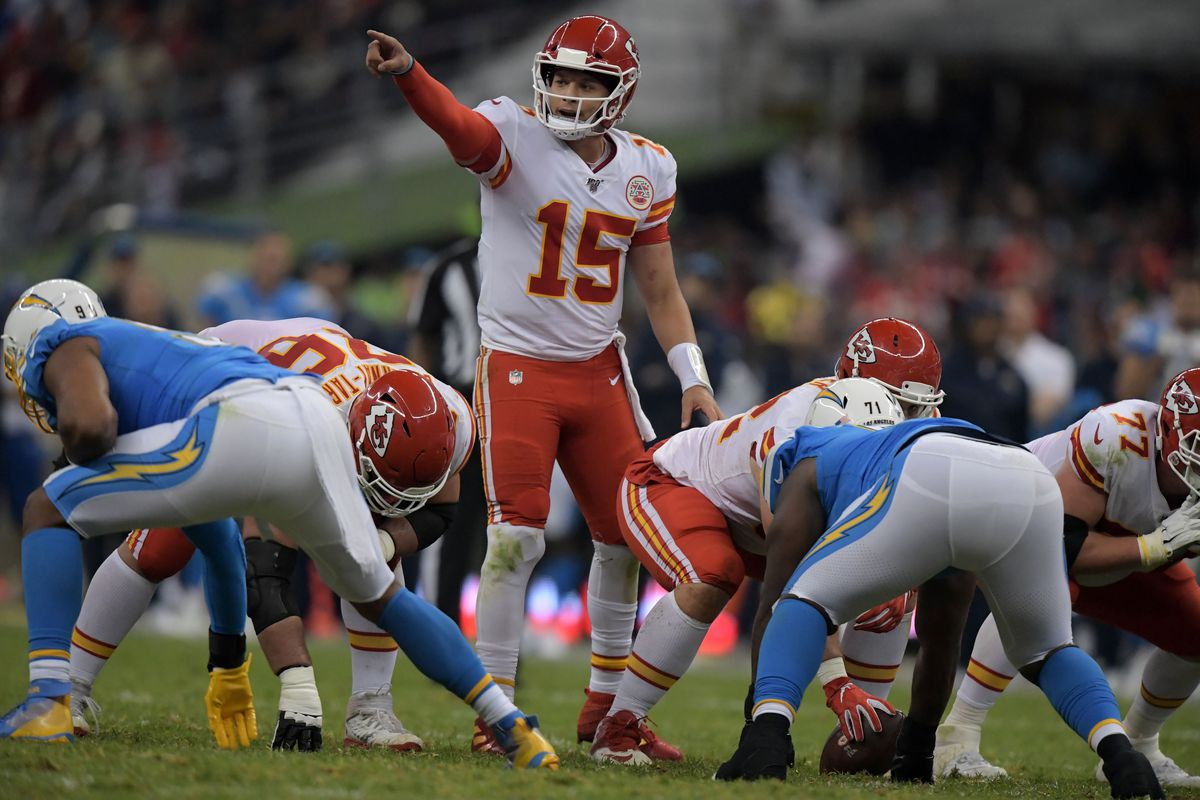 Kansas City Chiefs quarterback Patrick Mahomes gestures in the second half against the Los Angeles Chargersduring an NFL International Series game at Estadio Azteca.