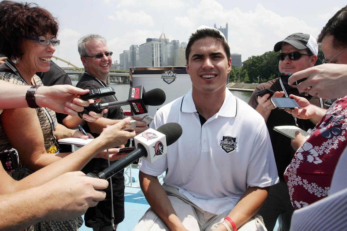 """Everyone laughs because Nail Yakupov answering """"<a href=""""http://www.youtube.com/watch?v=F36YNCae9yg"""" target=""""new"""">we win</a>"""" to every question is never going to get old.  Mandatory Credit: Charles LeClaire-US PRESSWIRE"""