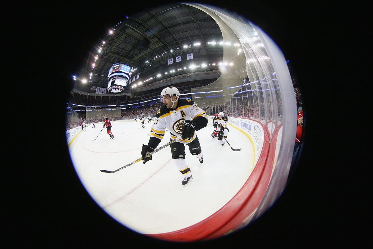 Sometimes playing on TV, sometimes watching on TV... Patrice Bergeron