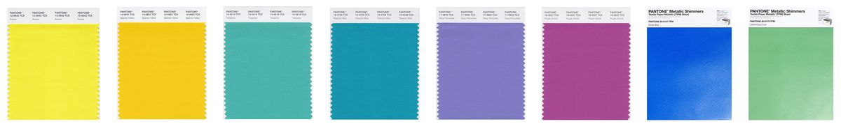Images of color swatches, which are bright and bold colors, arranged horizontally