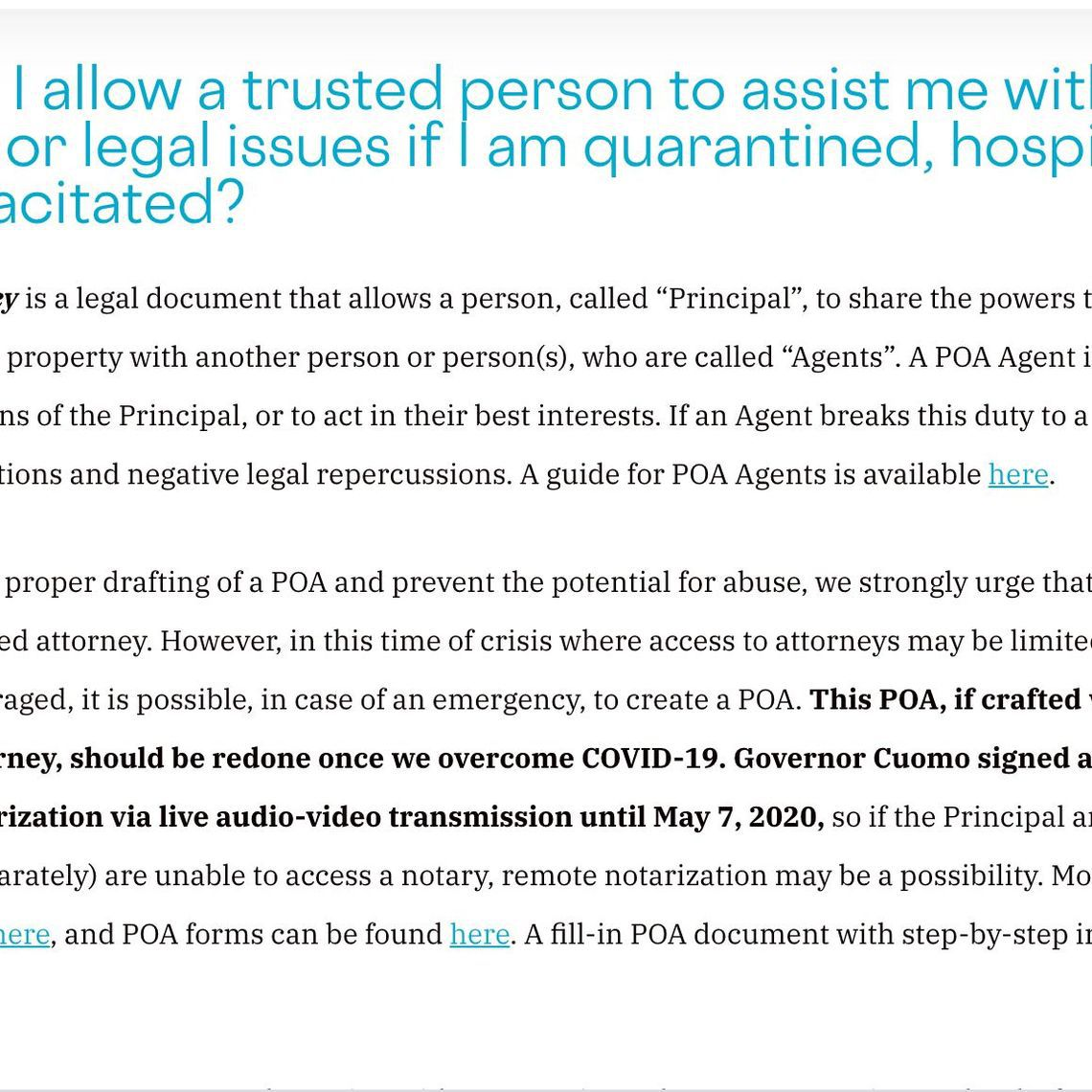 A description of how to get power of attorney for a loved one.