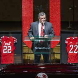 Utah football coach Kyle Whittingham memorializes Aaron Lowe during a funeral service at Family Cathedral of Praise on Monday, Oct. 11, 2021, in Mesquite, Texas. Lowe, a student and football player at the University of Utah, was was shot and killed on Sept. 26 at a postgame party.