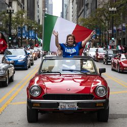 The Columbus Day Parade travels down North State Street in the Loop, Monday afternoon, Oct. 11, 2021.