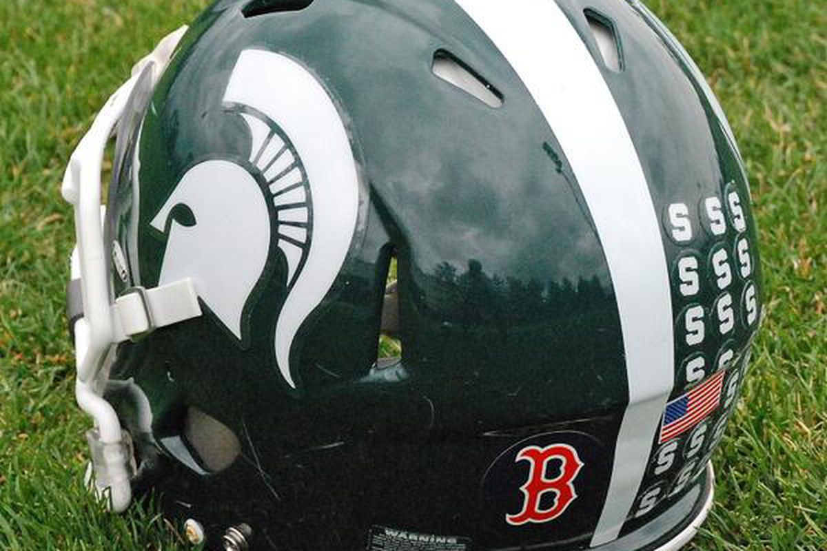 Michigan State Honors Boston With Red Sox Helmet Decal