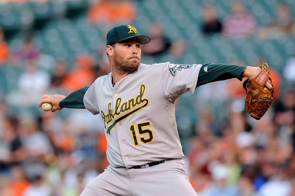 BALTIMORE - JUNE 30:  Ben Sheets #15 of the Oakland Athletics pitches against the Baltimore Orioles at Camden Yards on June 30