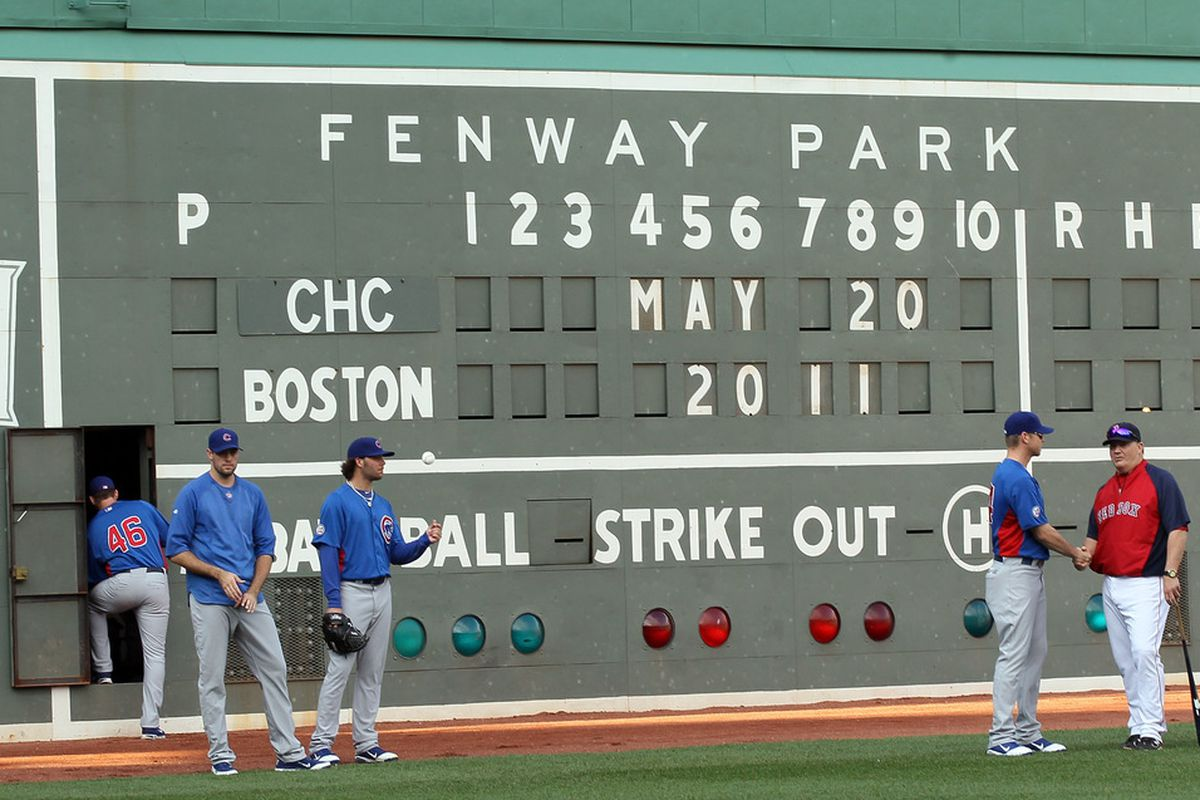 I might as well be explaining quantum chromodynamics than explaining what any of the stuff up on that wall would mean during an actual game to someone who hasn't even heard of the Red Sox. (Photo by Elsa/Getty Images)