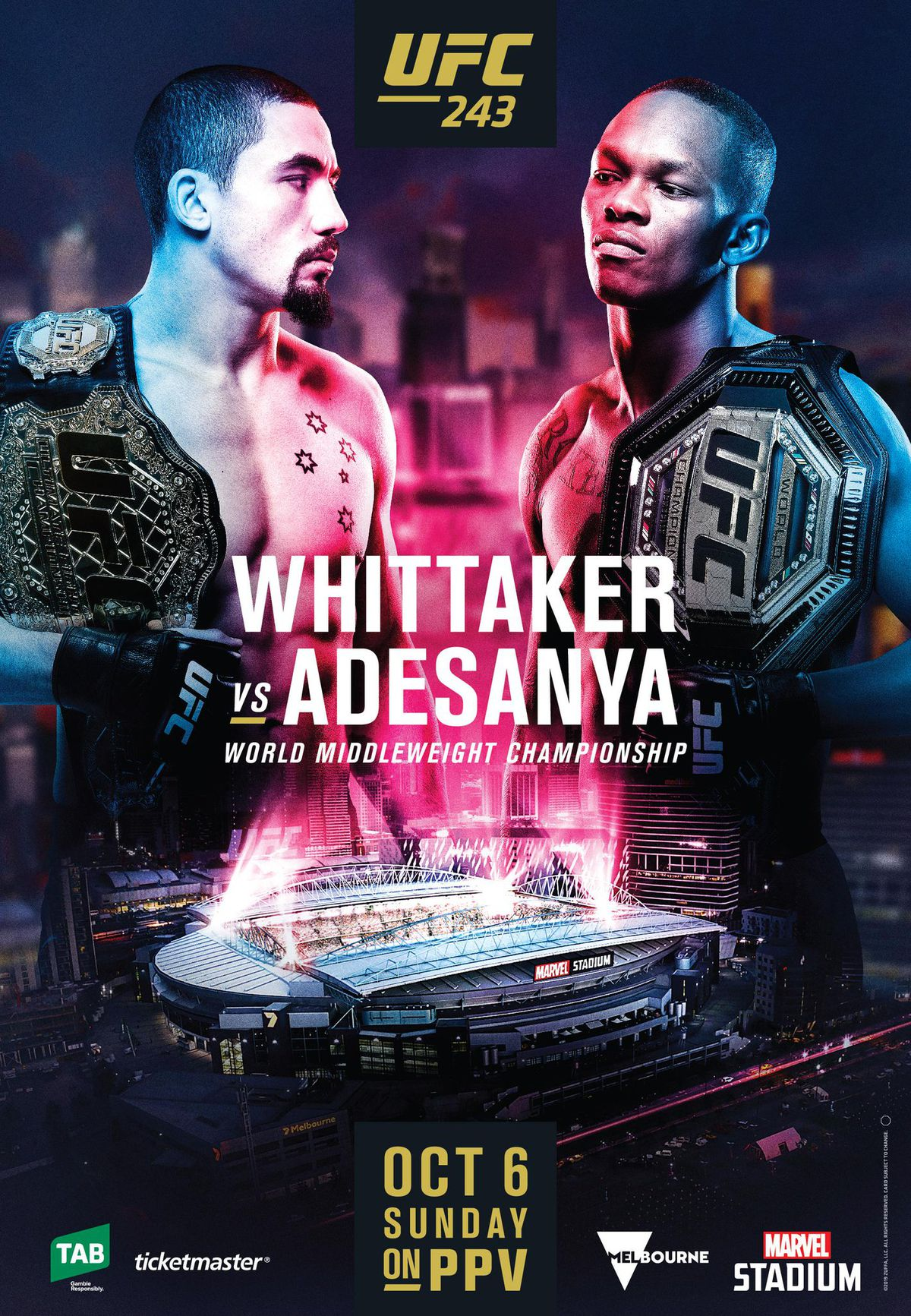 Pic: UFC 243 poster drops for 'Whittaker vs Adesanya'