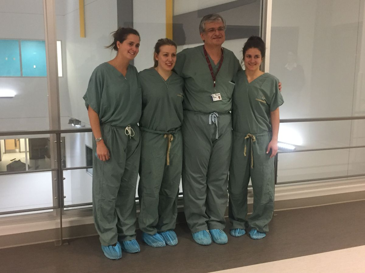 Left to right: Hill, Oles, Dr. Meterissian, Sara Lachance