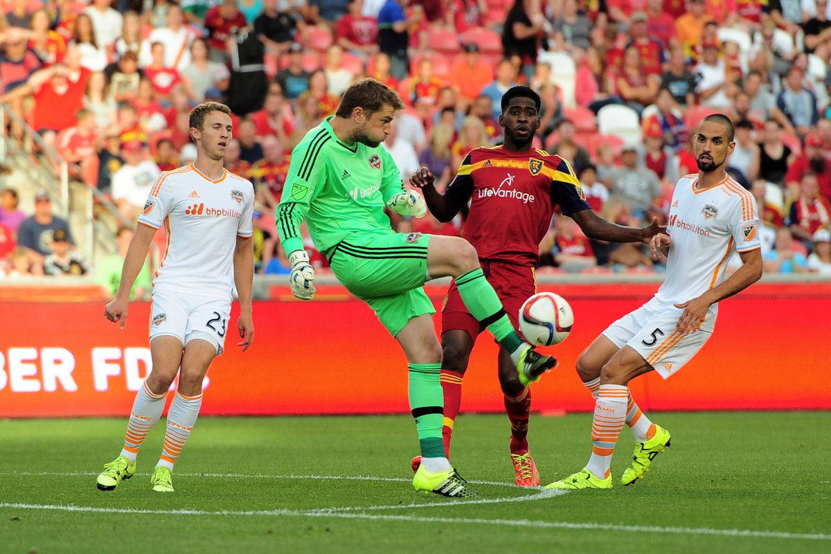 Tyler Deric made a huge save in the first half of the game against Real Salt Lake.