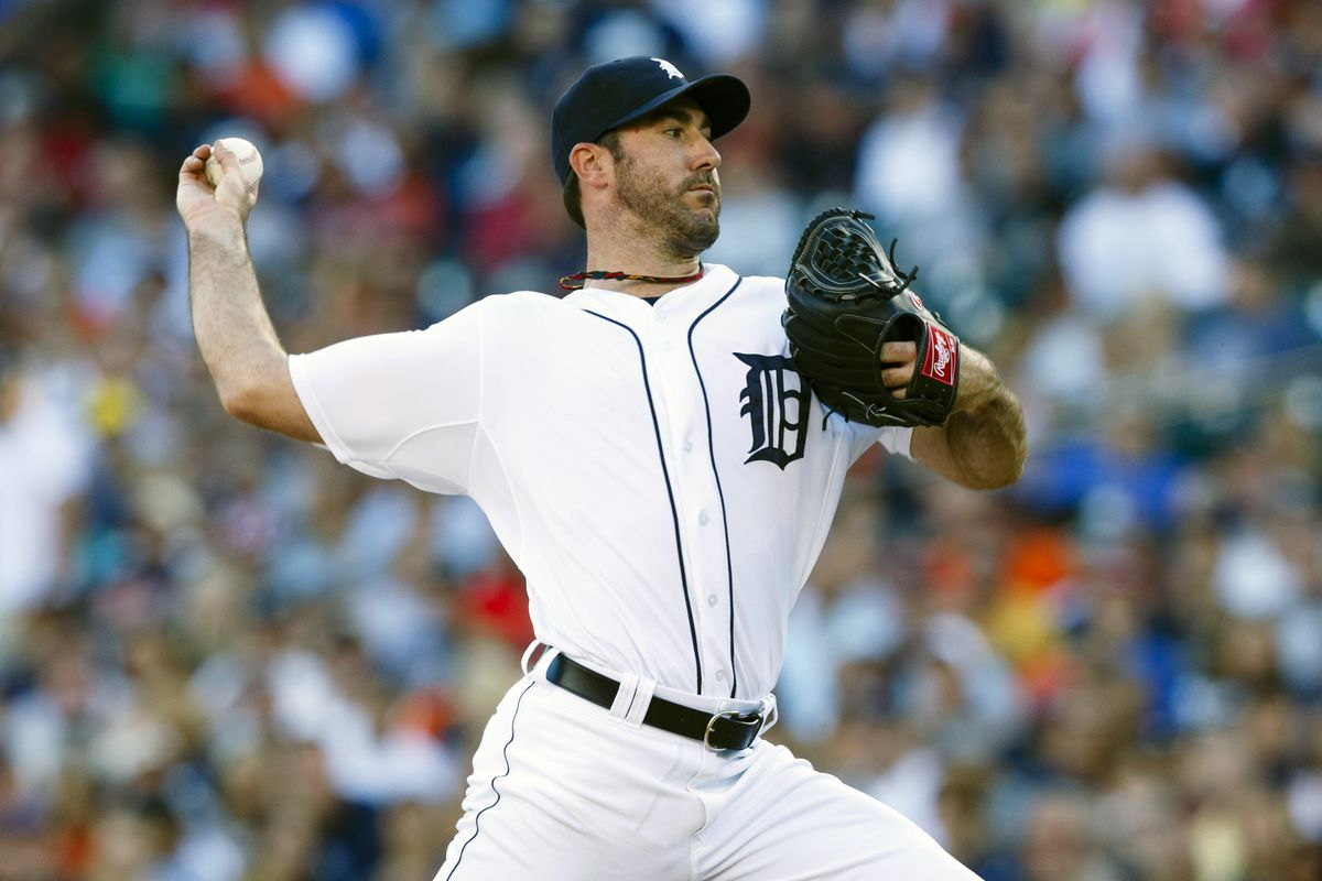 August 6, 2012; Detroit, MI, USA; Detroit Tigers starting pitcher Justin Verlander (35) pitches against the New York Yankees during the first inning at Comerica Park. Mandatory Credit: Rick Osentoski-US PRESSWIRE