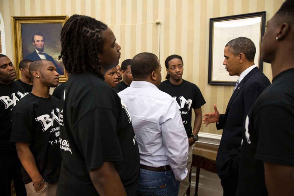 President Obama meets with BAM participants in the Oval Office on June 14, 2013.