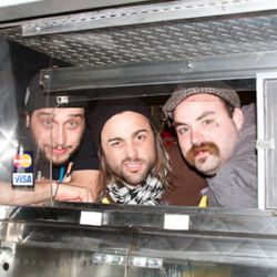 """From left: Flexx Bronco's Kevin aka """"Guy Thunderbird"""" and Phil Stefani with cook and business partner Seth Stowaway"""