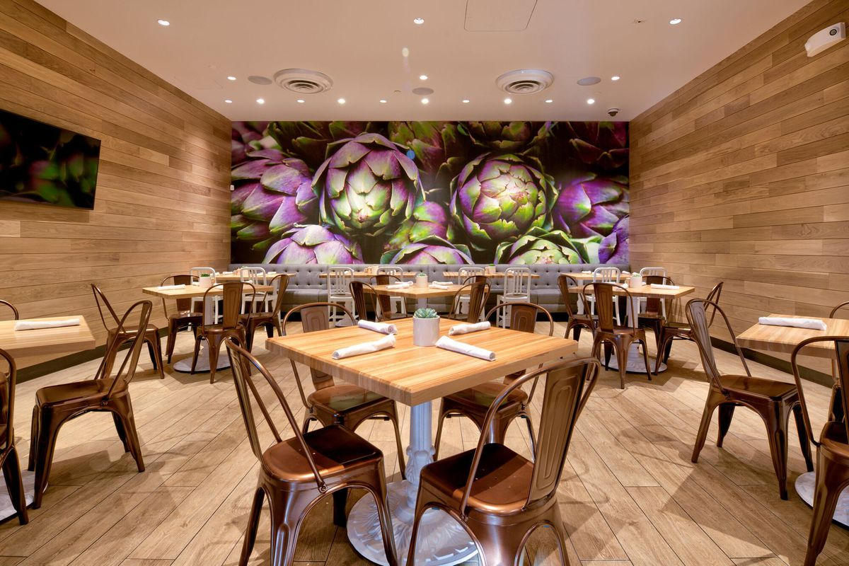 A corner seating space off the main dining area at True Food Kitchen.