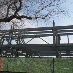 Closer view of Jumbotron support steel -