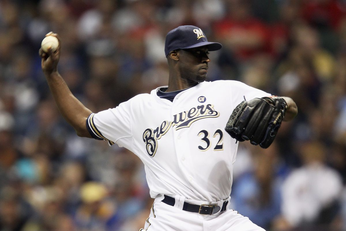 Here's LaTroy Hawkins during his last appearance, NLCS Game 6 on October 16.